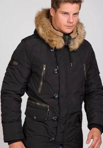 Kurtka męska zimowa parka czarna Denley 1045C