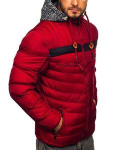 Kurtka męska zimowa sportowa pikowana bordowa Denley 50A71