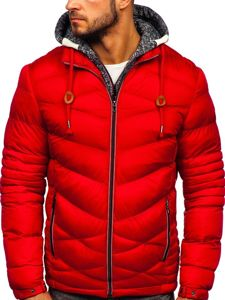 Kurtka męska zimowa sportowa pikowana czerwona Denley 50A163
