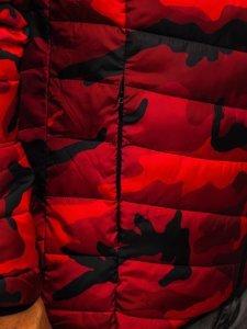 Kurtka męska zimowa sportowa pikowana moro-czerwona Denley SM32