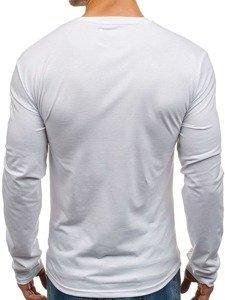 Longsleeve męski z nadrukiem biały Denley SX049