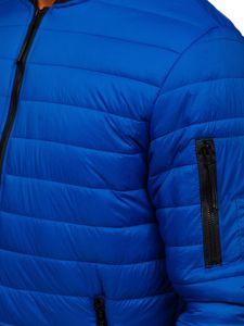 Niebieska przejściowa kurtka męska pikowana bomberka Denley MY-02