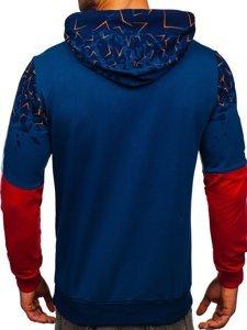 Niebieska z nadrukiem bluza męska z kapturem Denley 7026