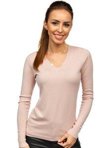Różowy sweter damski w serek Denley CB95094C