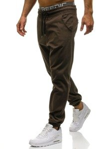 Spodnie baggy męskie brązowe Denley 0399