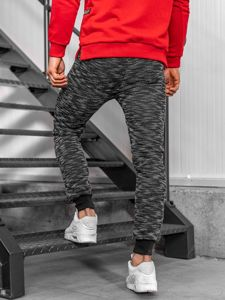 Spodnie dresowe męskie czarne Denley 8738