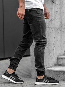 Spodnie jeansowe joggery męskie czarne Denley  KA1095