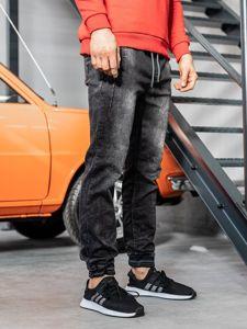 Spodnie jeansowe joggery męskie czarne Denley  KA688