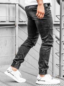Spodnie jeansowe joggery męskie czarne Denley KA757