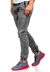 Spodnie jeansowe joggery męskie szare Denley 408-1