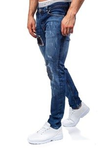 Spodnie jeansowe męskie slim fit granatowe Denley 302
