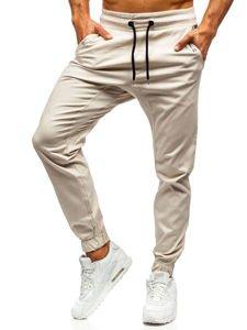 Spodnie joggery męskie ecru Denley 0449
