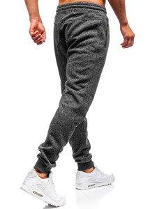 Spodnie męskie dresowe antracytowo-seledynowe Denley Q3768
