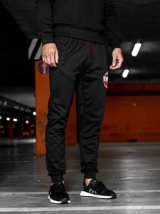 Spodnie męskie dresowe czarne Denley MK05