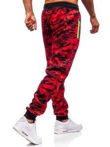 Spodnie męskie dresowe joggery czerwone Denley 55021