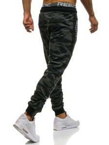 Spodnie męskie dresowe joggery moro-grafitowe Denley 0865