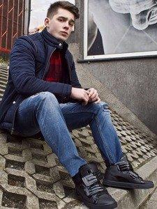 Stylizacja nr 87 - kurtka zimowa, flanelowa koszula, spodnie jeansowe, sneakersy