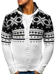 Sweter męski rozpinany biały Denley 585