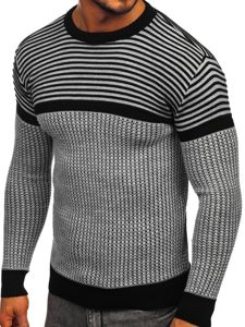 Sweter męski szaro-czarny Denley 1013