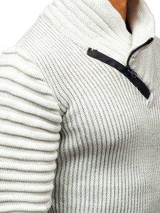 Sweter męski ze stójką ecru Denley 20002