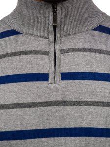 Sweter męski ze stójką szary Denley W05