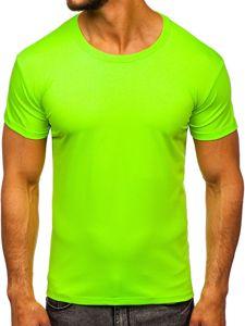 T-shirt męski bez nadruku seledynowy Denley 2005