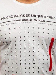 T-shirt męski z nadrukiem biały Denley 516