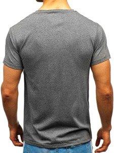 T-shirt męski z nadrukiem grafitowy Denley 10836