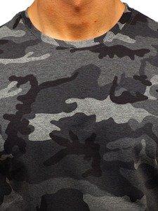 T-shirt męski z nadrukiem moro-grafitowy Denley S808