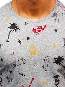 T-shirt męski z nadrukiem szary Bolf 1150-A