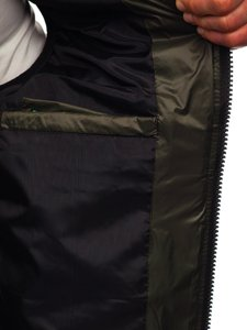 Zielona pikowana kamizelka męska z kapturem Denley 6701