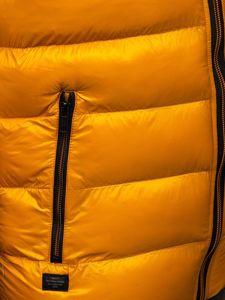 Żółta pikowana kamizelka męska z kapturem Denley 6506