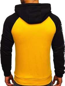 Żółta z nadrukiem bluza męska z kapturem Denley KS2124